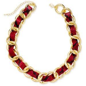 Thalia Sodi Red Woven Gold Chain Collar Necklace